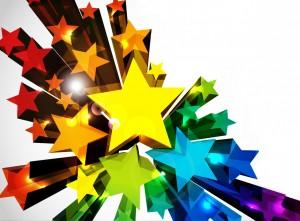 立体的に飛び出すカラフルな星の背景  イラスト素材